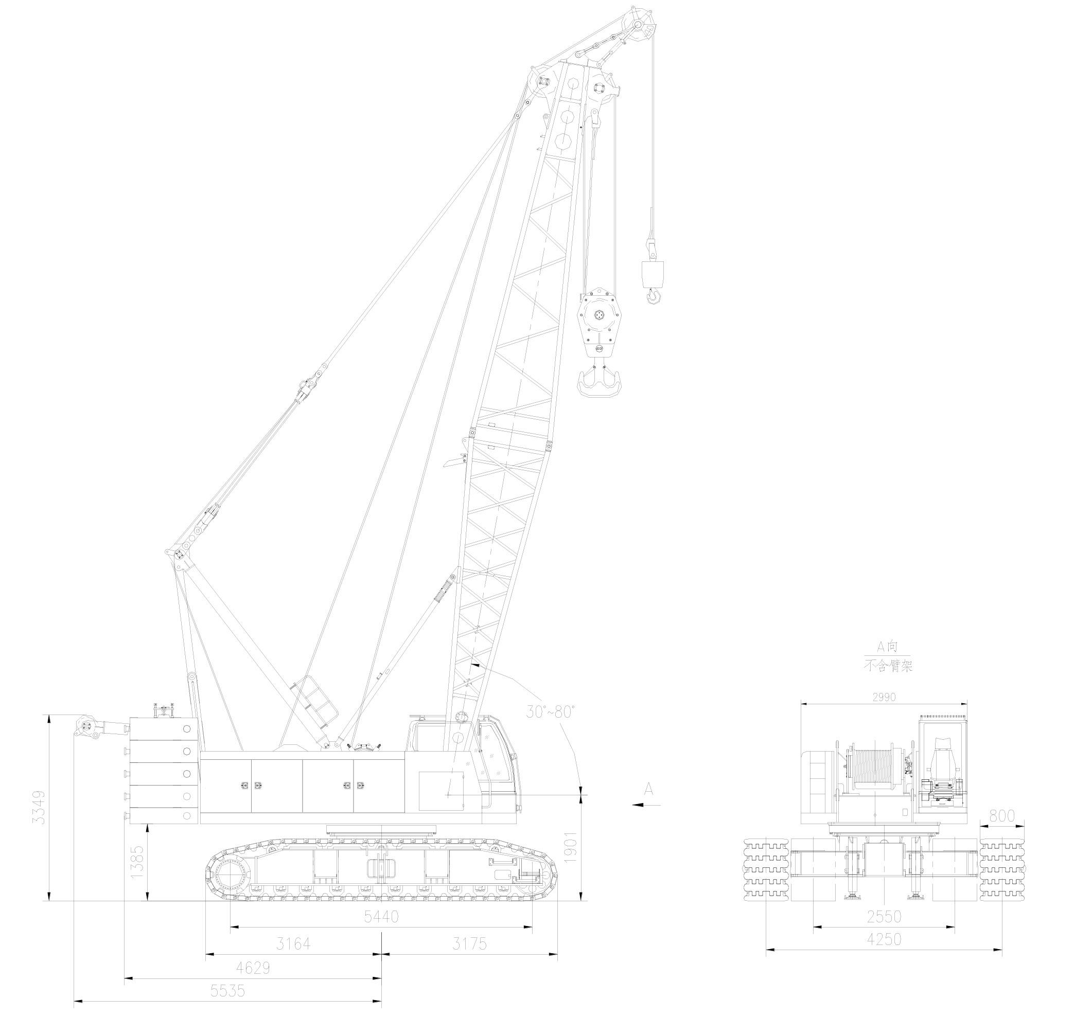 Размеры гусеничного крана ZCC100H Zoomlion