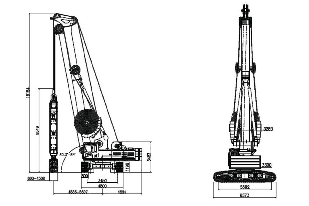 Габариты и размеры грейферного экскаватора ZDG650 Zoomlion