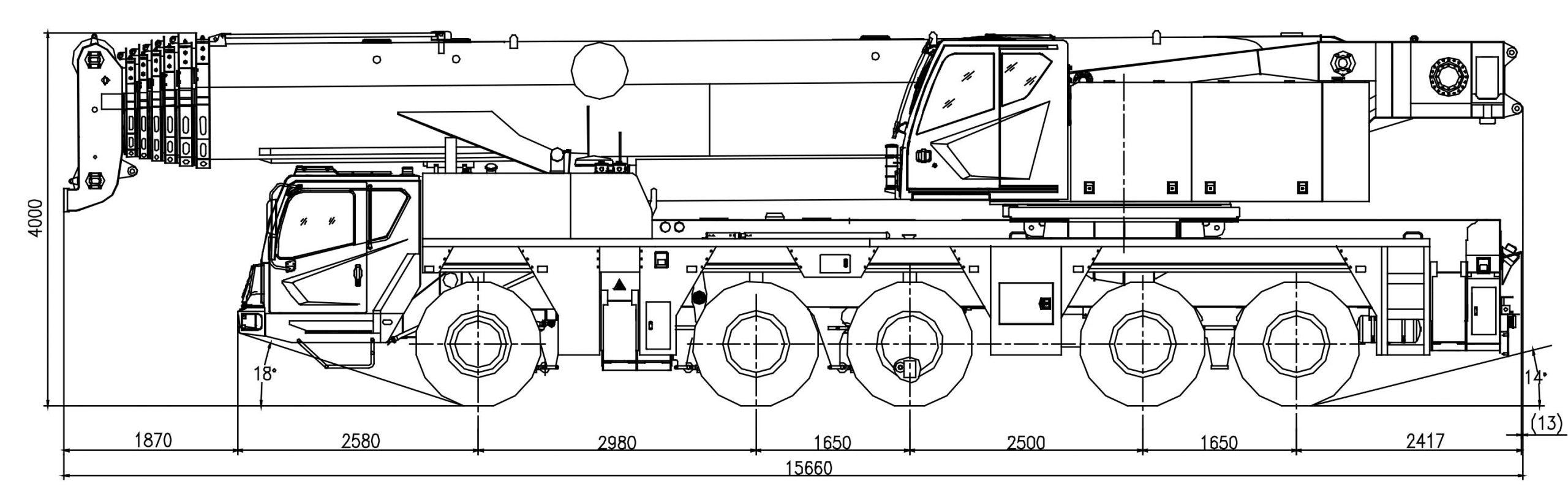 Размеры полноприводного крана ZAT2000 Zoomlion
