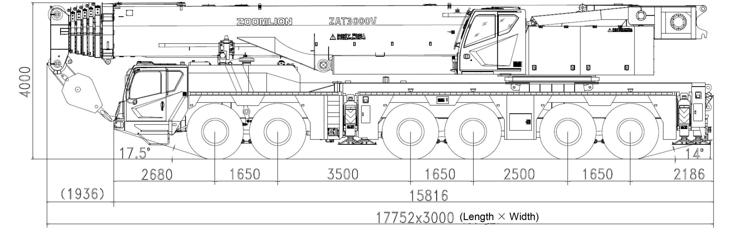 Размеры полноприводного крана ZAT3000 Zoomlion