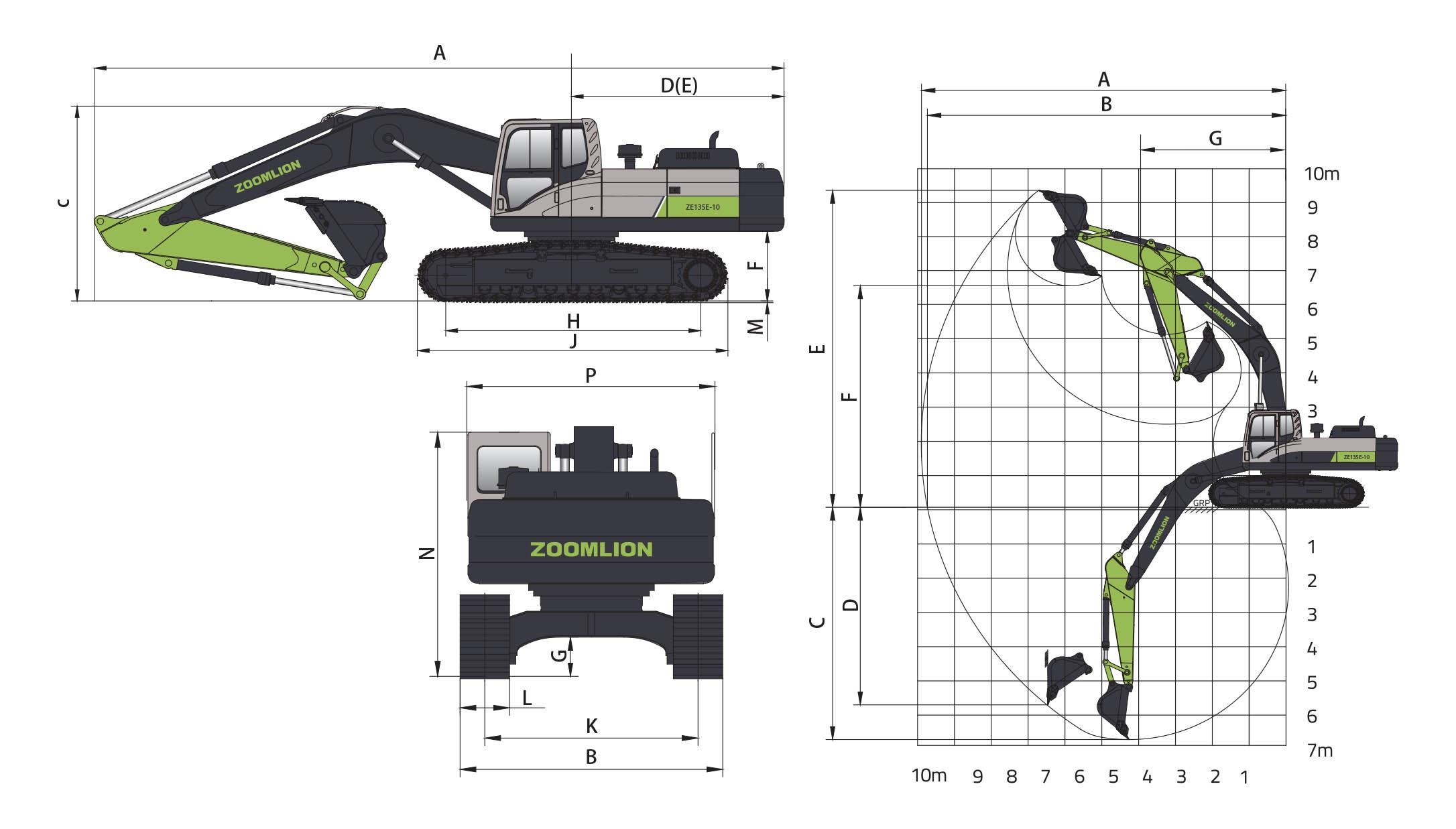 Размеры экскаватора ZE135E-10 Zoomlion