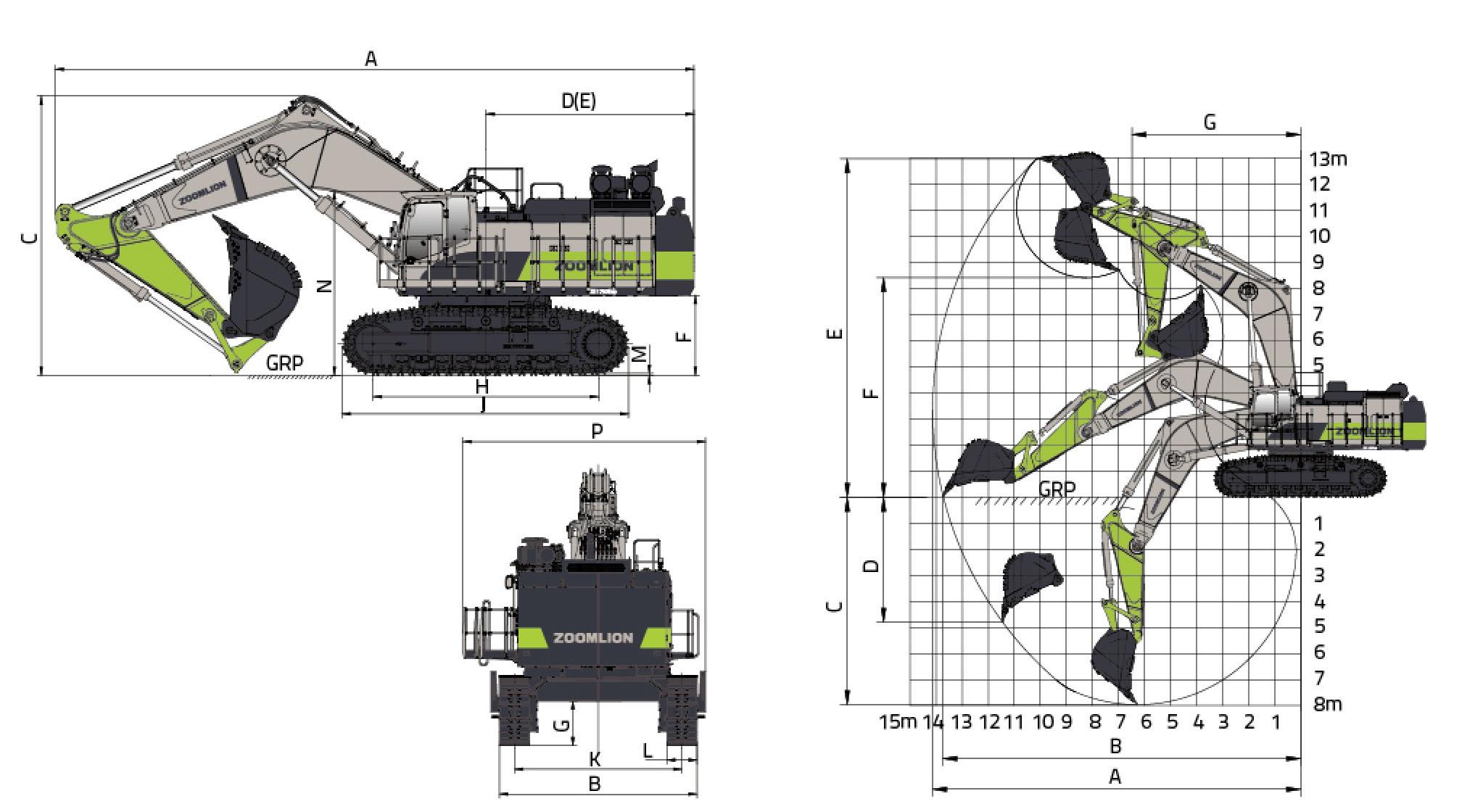 Размеры экскаватора ZE1250 Zoomlion