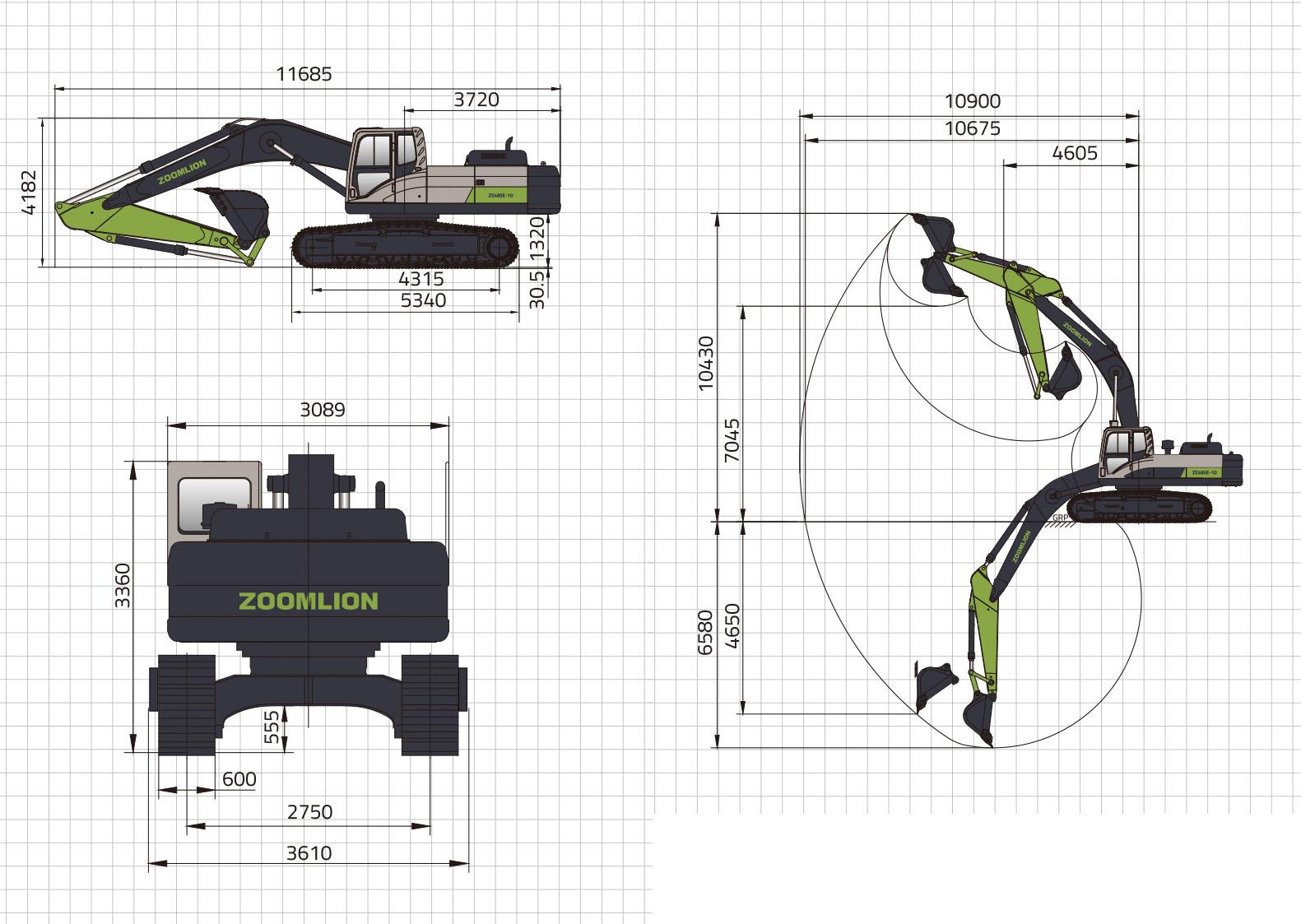 Размеры экскаватора ZE485E-10 Zoomlion