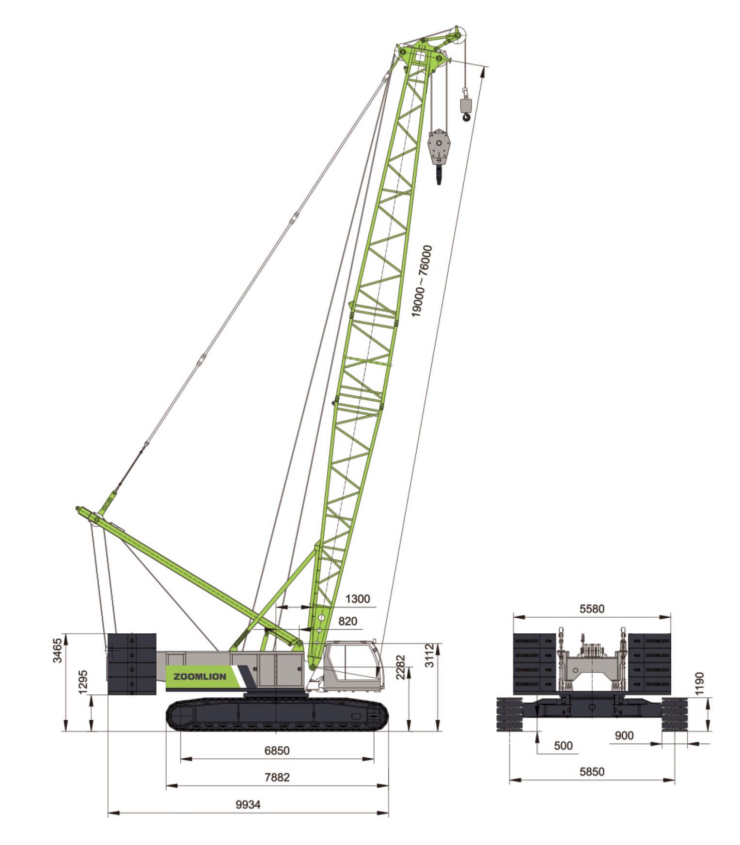 Размеры гусеничного крана ZCC1300 Zoomlion
