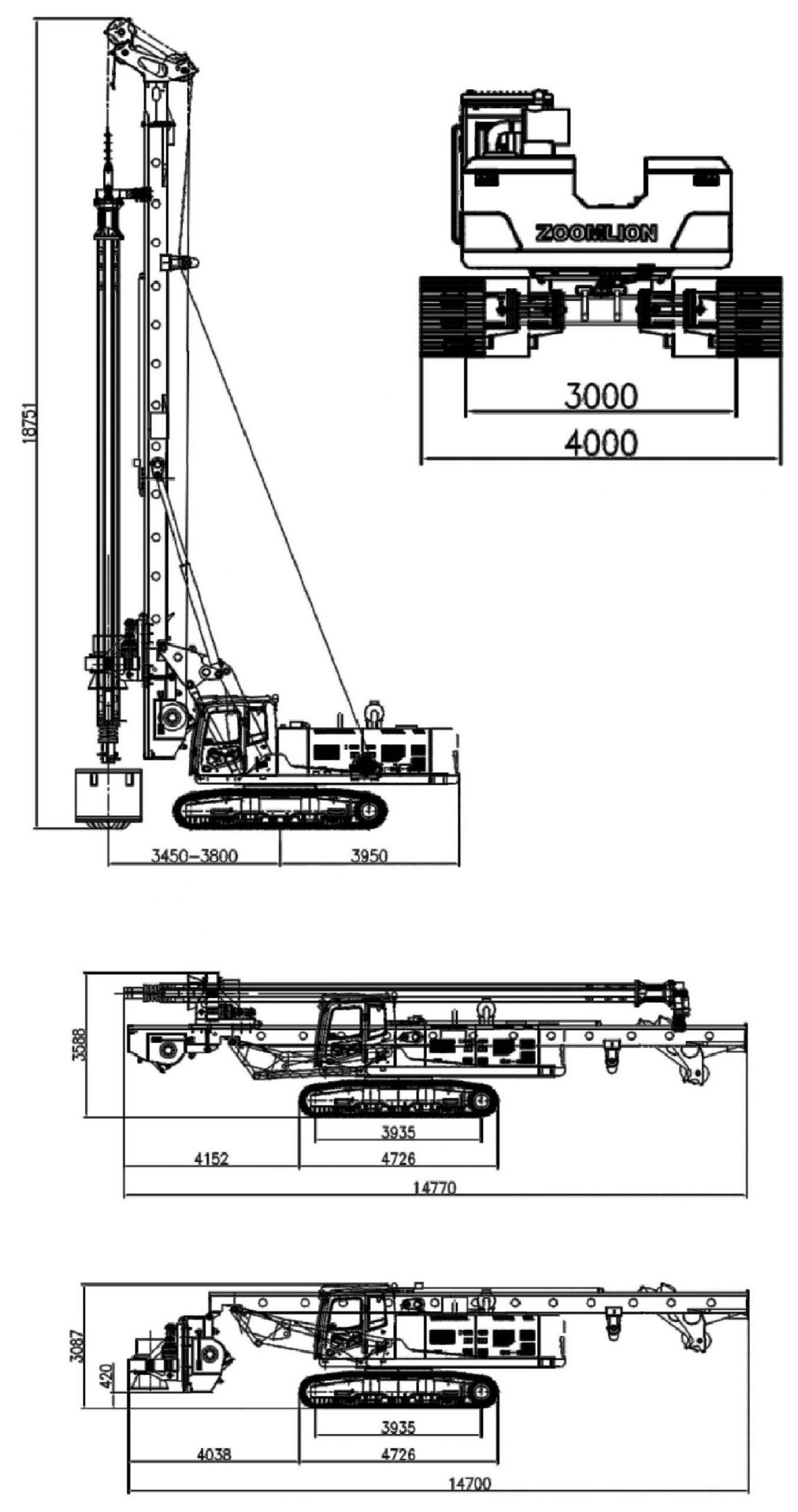 Размеры роторной буровой установки Zoomlion ZR160L