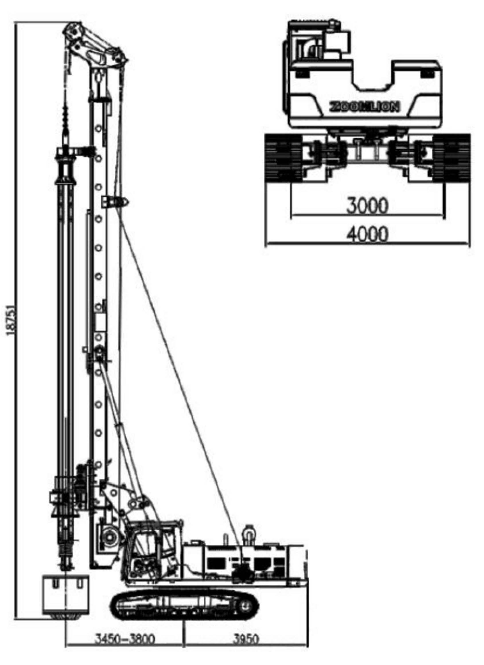 Размеры роторной буровой установки Zoomlion ZR185