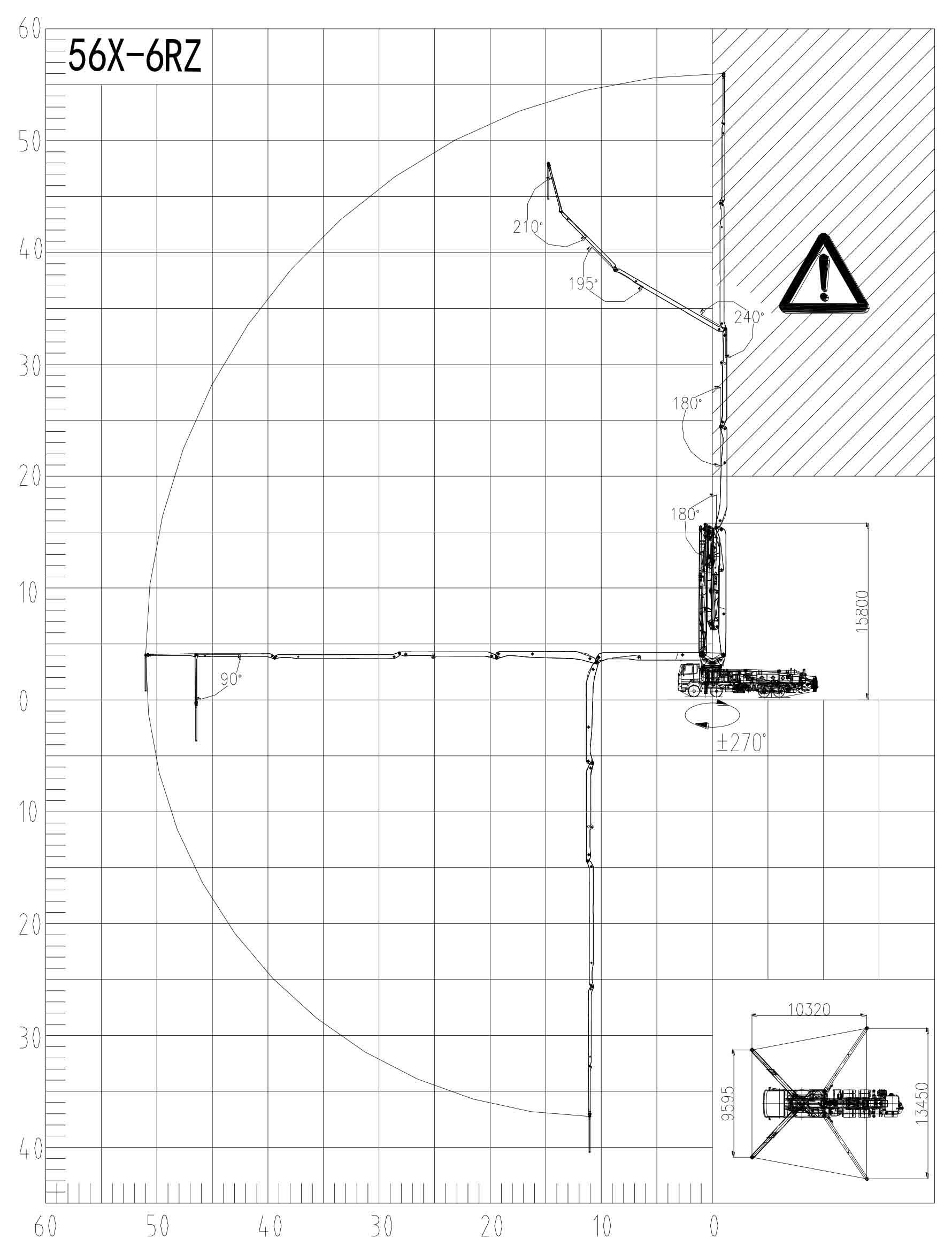 Рабочий диапазон автобетононасоса 56X-6RZ Zoomlion