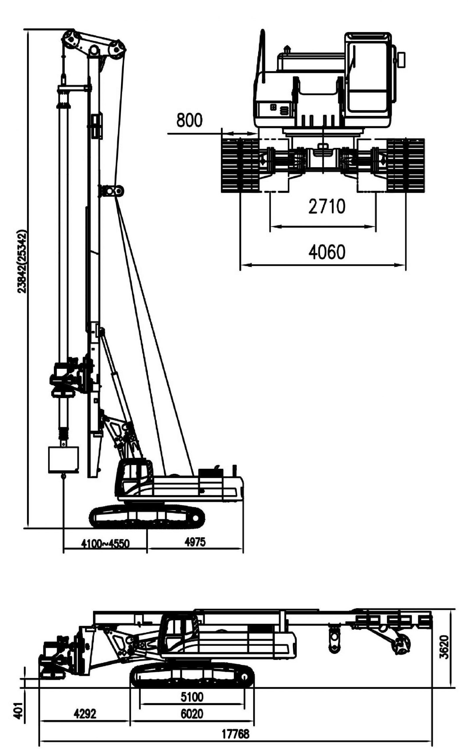 Размеры роторной буровой установки Zoomlion ZR280C-2