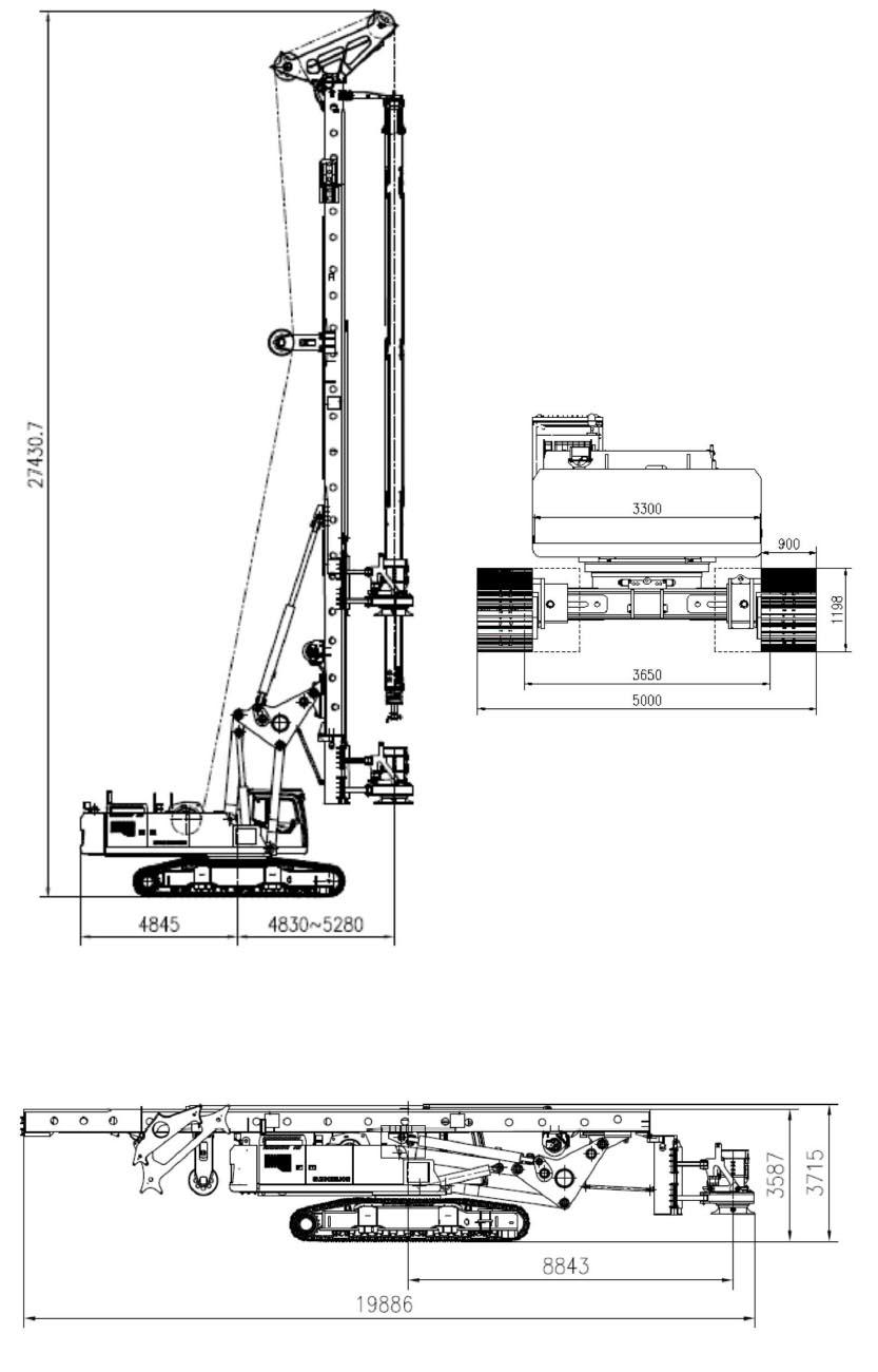 Размеры роторной буровой установки Zoomlion ZR400L