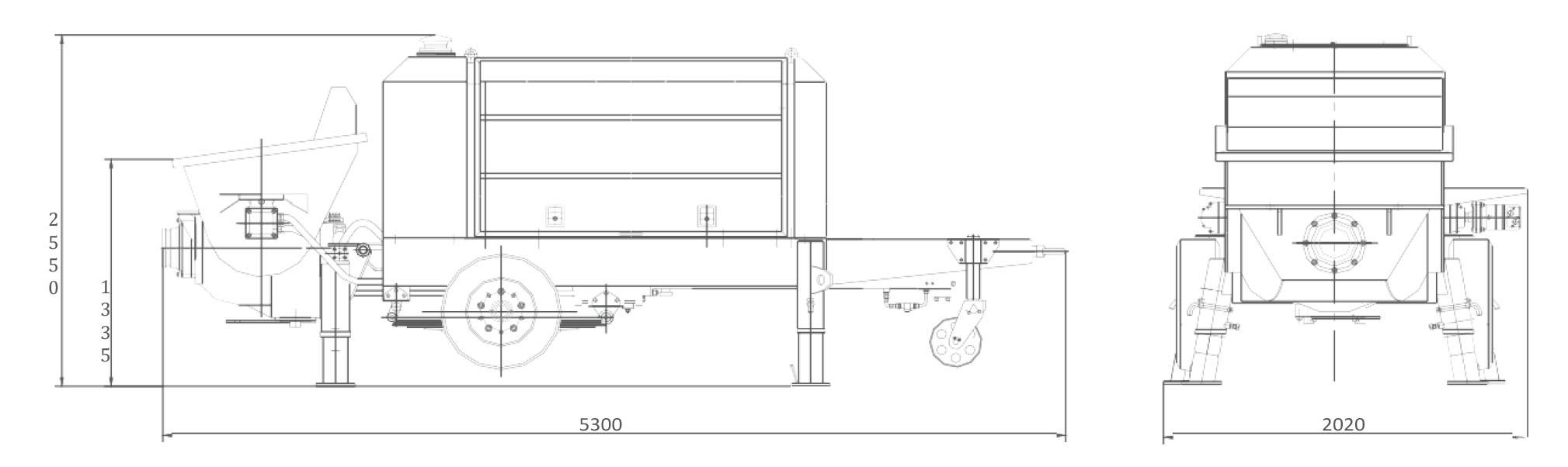 Размеры стационарного бетононасоса Zoomlion HBT50.10.60RS