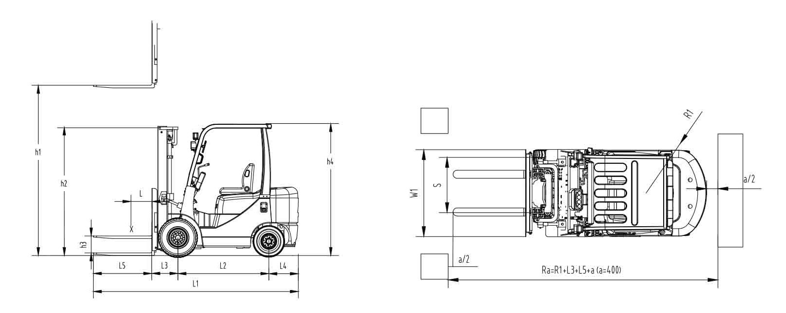 Размеры вилочного погрузчика FD15 FD18 Zoomlion