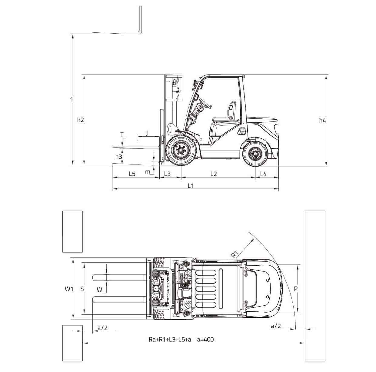 Размеры вилочного погрузчика FD20H (FD25H, FD30H, FD35H) Zoomlion